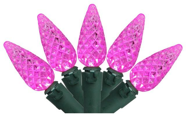 Set Of 70 Pink Led C6 Christmas Lights.