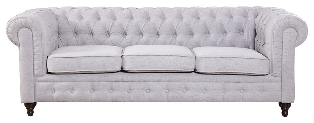 Chesterfield-Style Sofa, Stone Linen traditional-sofas