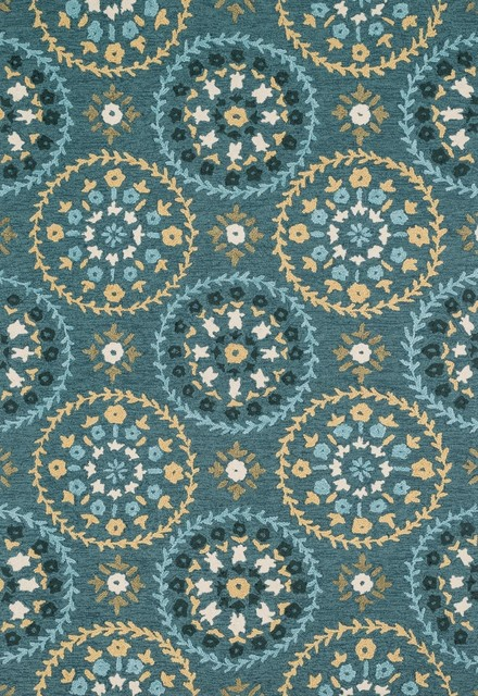 Juliana Transitional Teal Gold Area Rug Area Rugs by Rug Lots