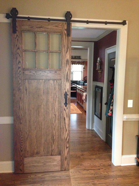 inerior barn door style sliding doors traditional atlanta by true carpentry and cabinetry. Black Bedroom Furniture Sets. Home Design Ideas
