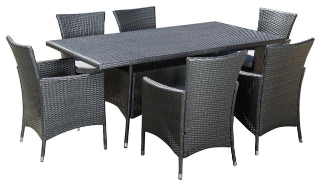 Macalla Grey Pe Wicker 7-Piece Outdoor Dining Set.
