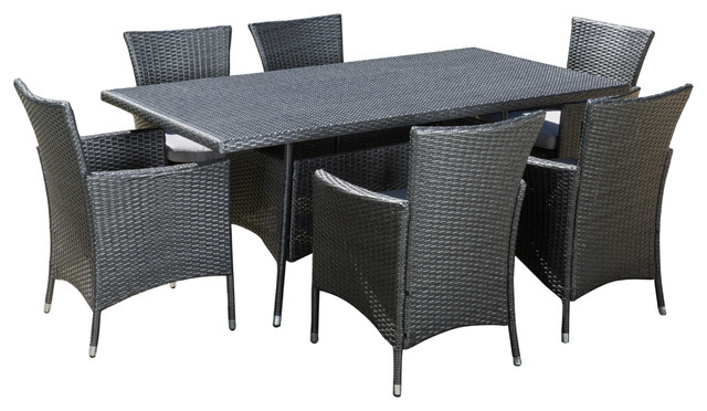 Macalla Grey PE Wicker 7-Piece Outdoor Dining Set - Tropical ...