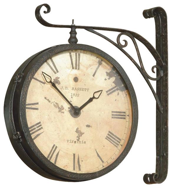 Wall Mount Hanging Clock w Roman Numerals in Dark Antique Gold
