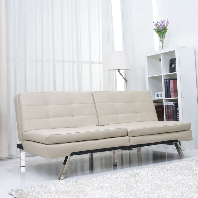 Memphis sand double cushion futon sofa bed contemporary for Sofa bed overstock