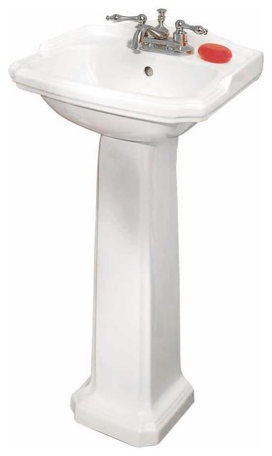 Small Bathroom Pedestal Sink Space Saver Grade A Vitreous ...