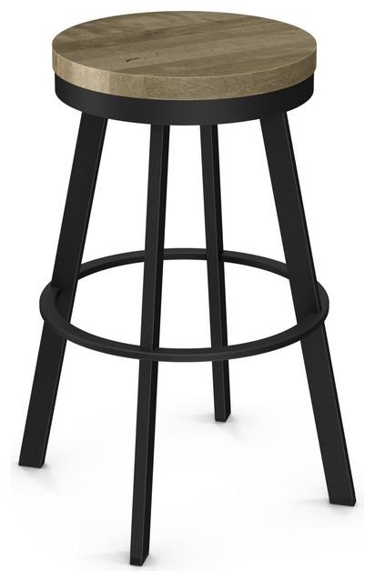 Warner Swivel Stool, Distressed Seat, Textured Black, Beige, Bar Height.