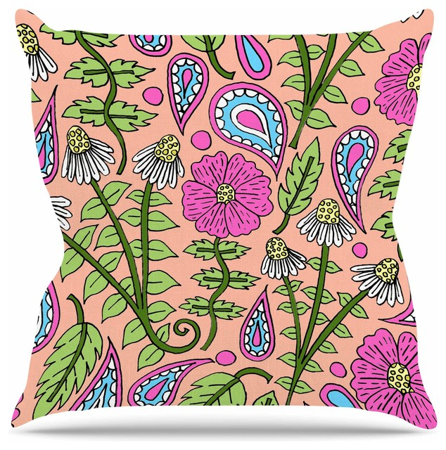 Sarah Oelerich Peach Floral Paisley Pink Green Throw Pillow