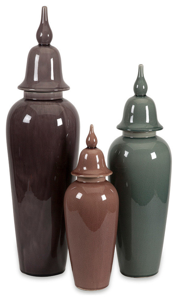 Urn 3 Piece Set Great Home Decor Element Traditional Decorative Jars And Urns By Uber Bazaar