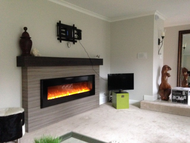 Linear Fireplace mantle surround with box mantle : home design from www.houzz.com size 640 x 480 jpeg 58kB