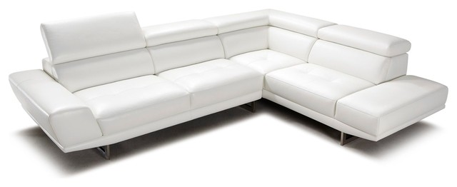 Posh White Top Grain Leather Modern Corner Sectional Sofa, Right Chaise