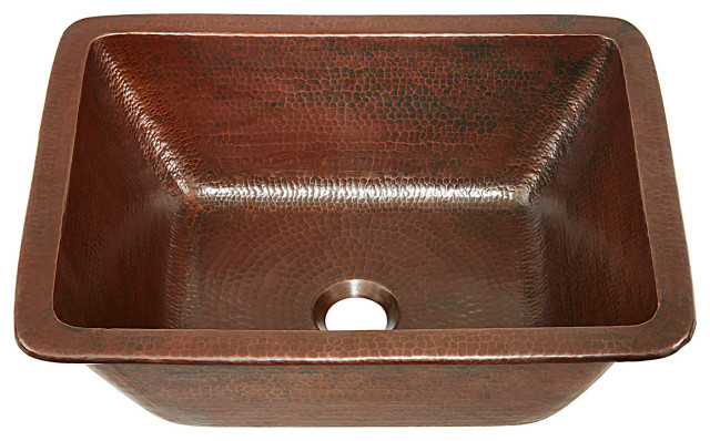 """Hawking 12"""" Undermount and Drop-In Bath Sink Handmade Solid Copper, Aged Copper"""