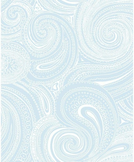York Wallcoverings Blue Book Paisley Swirl Wallpaper, Blue/White - Contemporary - Wallpaper - by The Savvy Decorator LLC