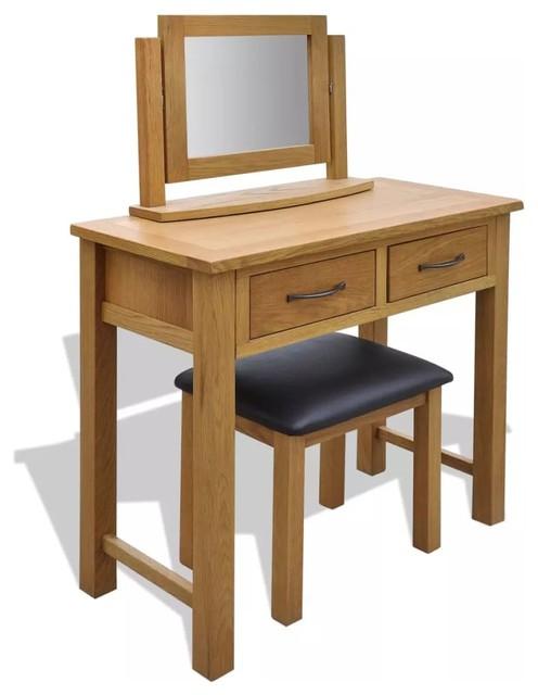 vidaXL Oak Wood Dressing Table w/ Stool Mirror Makeup Vanity Desk Drawer  Home