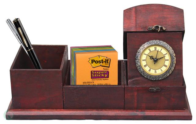 Antique Wood Desk Organizer desk-accessories - Antique Wood Desk Organizer - Desk Accessories - By Vintiquewise