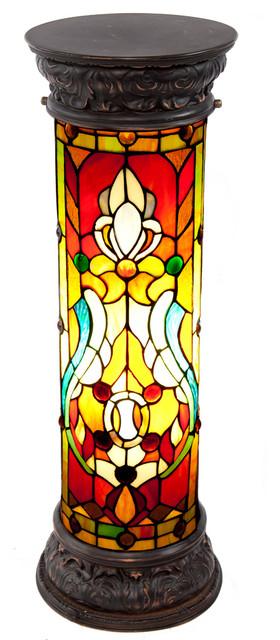 "River Of Goods 30""  Fleur De Lis Stained Glass Lit Pedestal."