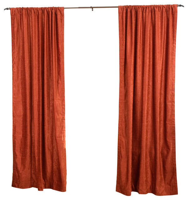 Rust Rod Pocket Velvet Curtain, Drape And Panel, 43x84, Piece.