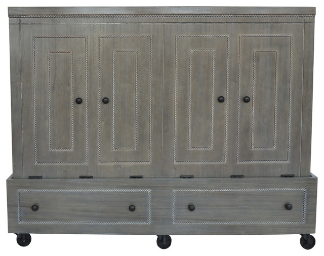 Room Amp Loft Queen Size Brocade Mobile Murphy Bed Pearl
