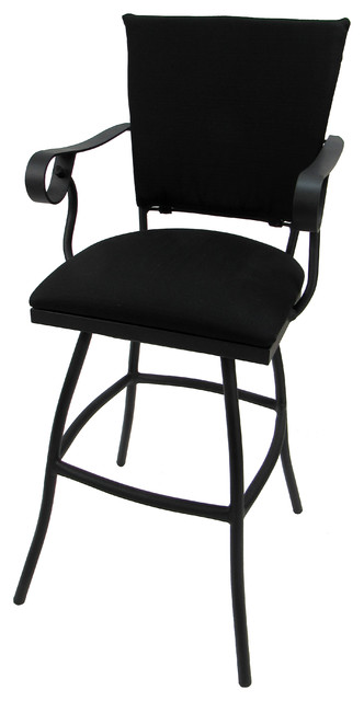 Prime Outdoor Patio Swivel Bar Stool Padded Back Jenna Black Linen Black 30 Andrewgaddart Wooden Chair Designs For Living Room Andrewgaddartcom