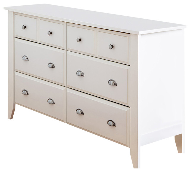 White 6-Drawer Dresser Traditional Design, Made In Usa.