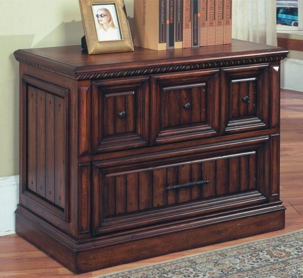 wood cabinet kitchen solid wood lateral file cabinet in walnut stain w two 1128