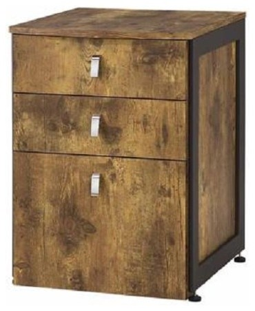 estrella antique nutmeg wood metal file cabinet