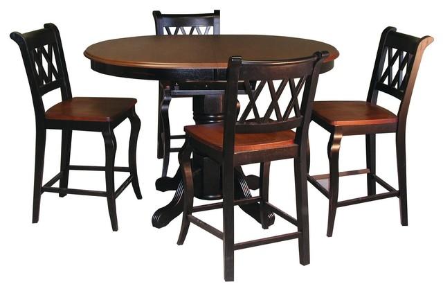 Pedestal Pub Table Antique Black Base With Cherry