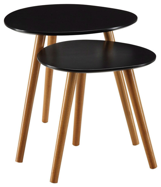 Set Of 2, Modern Mid Century Style Nesting Tables End Table, Black  Midcentury