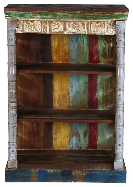 Brandon 3 Open Shelf Rustic Reclaimed Wood Bookcase Farmhouse Bookcases By Sierra Living Concepts
