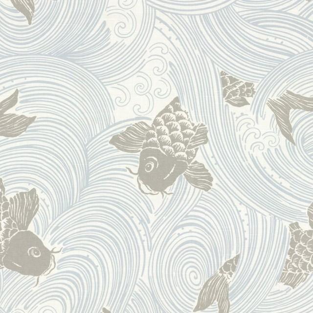 Gray koi fish fabric reviews houzz for Koi fish material