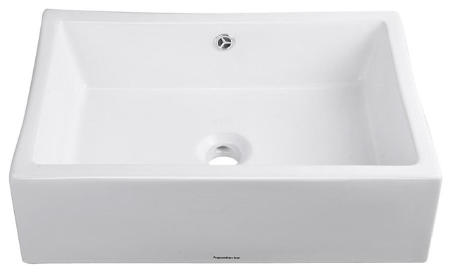 Aquaterior Rectangle Porcelain Ceramic Bathroom Sink, Chrome Drain & Overflow.