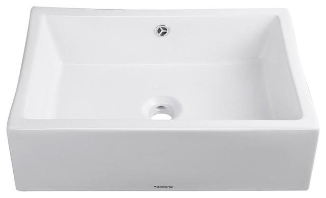 Aquaterior Rectangle Porcelain Ceramic Bathroom Sink, Chrome Drain & Overflow