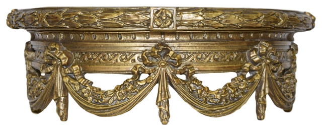 Swag Canopy Bedcrown, Antique Gold.