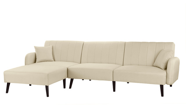 Mid Century Reclining Sleeper Sofa Bed With Chaise Lounge Beige