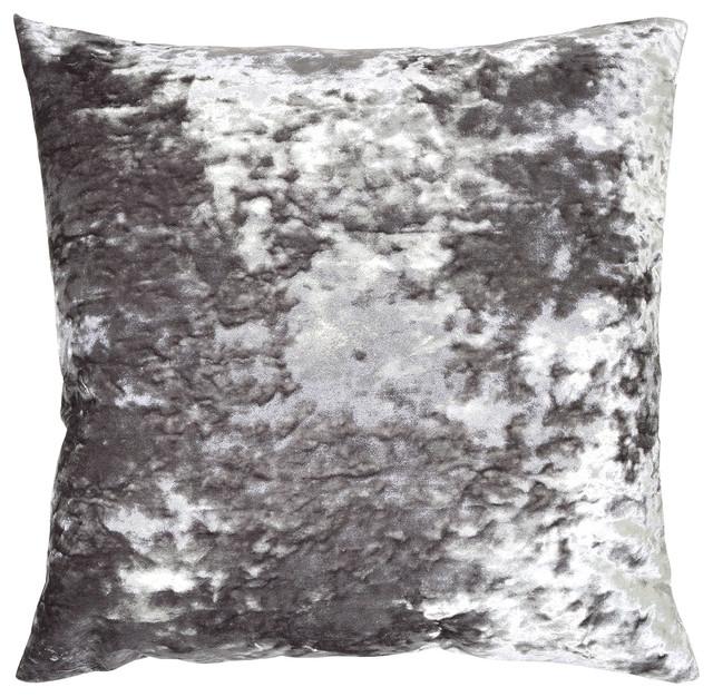 Aviva Crushed Velvet Pillow Silver Contemporary Decorative Impressive Gracious Home Decorative Pillows