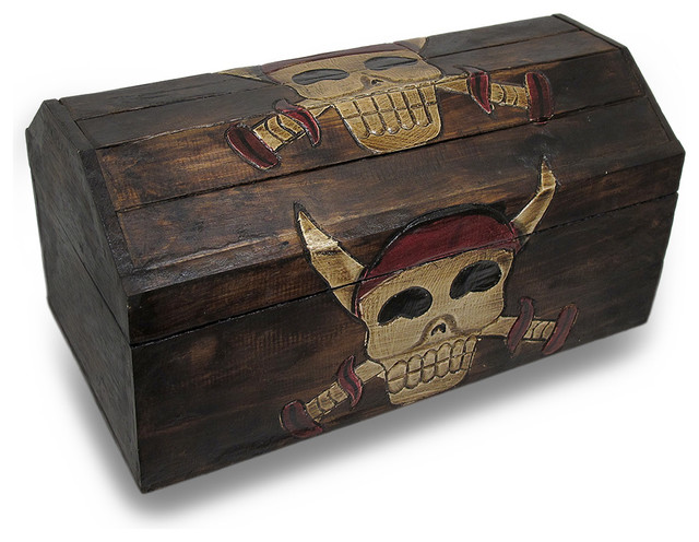 Wood Pirate Chest ~ Wooden pirate skull crossed daggers treasure chest