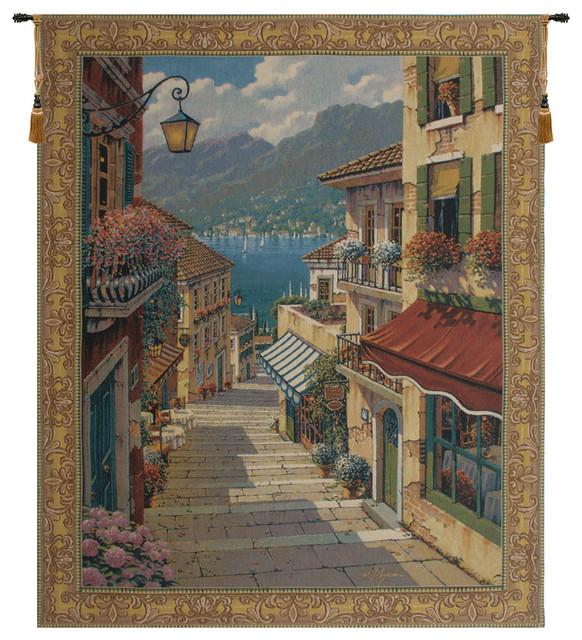 "Bellagio Village European Wall Tapestry, 64""x51""."