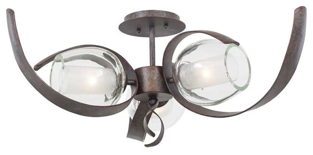 Kalco Lighting 7548oc Solana 3 Light Semi-Flush Mounts In Oxidized Copper.