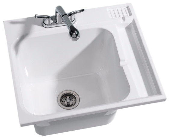 "Gazelle Fully Loaded Drop-In Sink Kit, White, 23""."