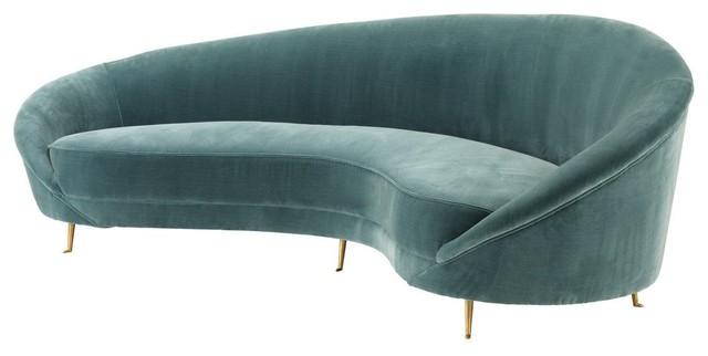 """Turquoise Sofa, Eichholtz Provocateur, Black, 96""""x34""""x31""""."""