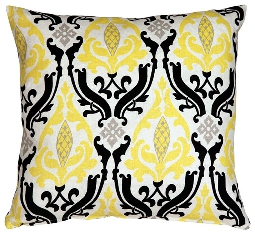 Linen Damask Print Throw Pillow, Yellow And Black, 18x18.