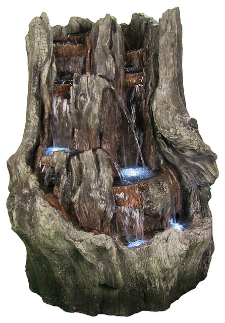 Sunnydaze Cascading Mountain Falls Outdoor Water Fountain with LED Lights,...  rustic- - Sunnydaze Cascading Mountain Falls Outdoor Water Fountain With LED