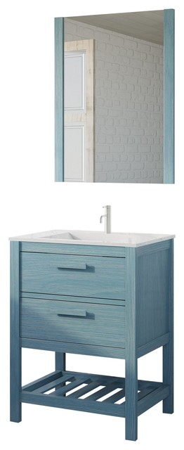 Amazonia 2-Drawer Bathroom Vanity Unit Set, Blue Wash, 60 cm