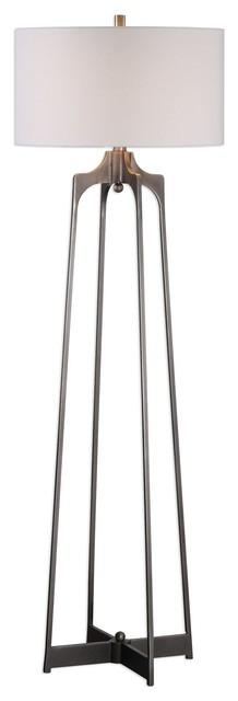 Midcentury Modern Minimalist Open Metal Floor Lamp, Retro Industrial Steel.