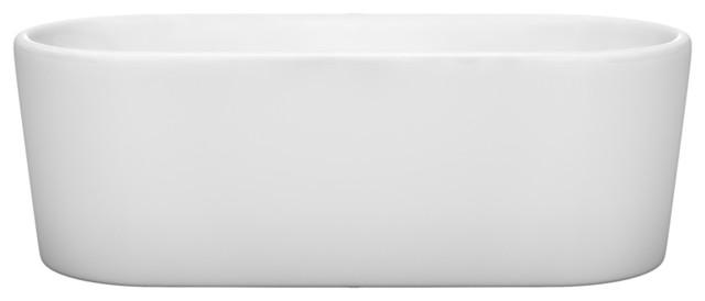 "Wyndham Collection Ursula 67"" Soaking Bathtub, White With Polished Chrome Trim."