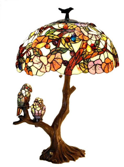 Chloe-Lighting 4-Light Flowers And Birds Double Table Lamp Oval.