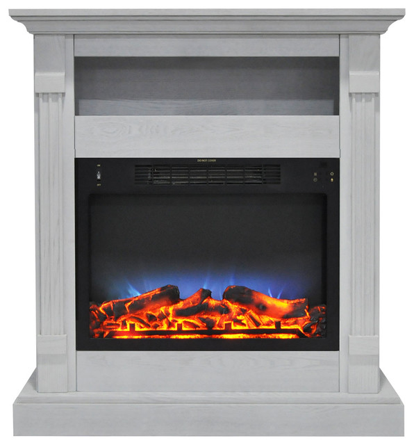 34 Electric Fireplace With Multi-Color Led Insert And White Mantel.