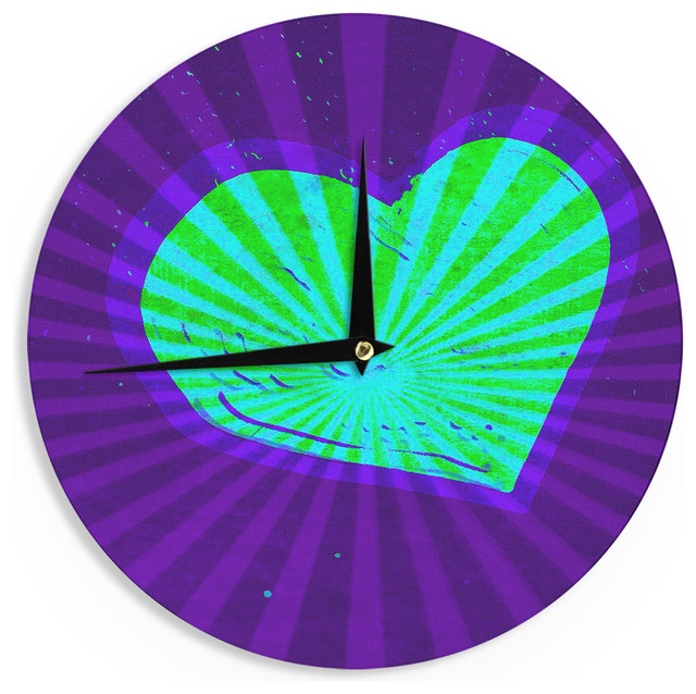 "Anne LaBrie ""Love Beams"" Purple Green Wall Clock"