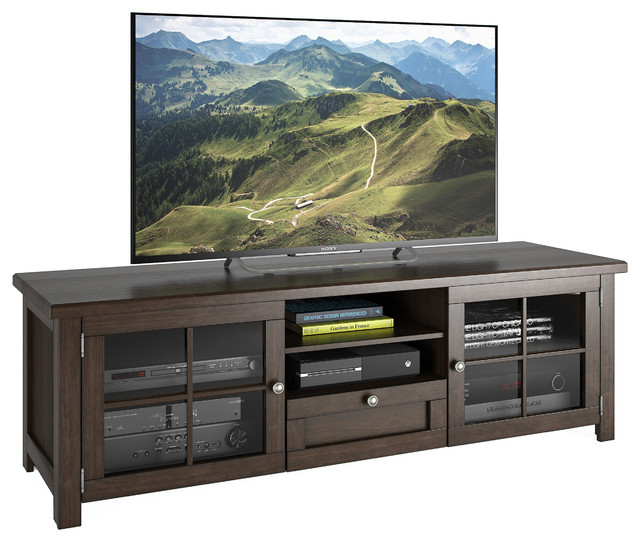 "Arbutus 63"" Dark Espresso Stained Wood Veneer Tv Bench."