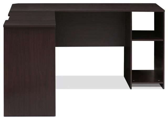 Indo Espressp L-Shaped Desk With Bookshelves.