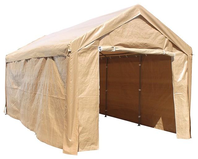 Aleko Heavy Duty Outdoor Canopy Carport Tent, 10&x27;x20&x27;, Beige.